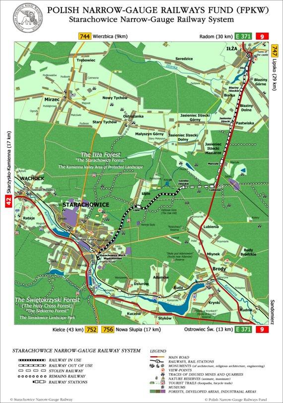 Map of Starachowice Narrow-Gauge Railway System