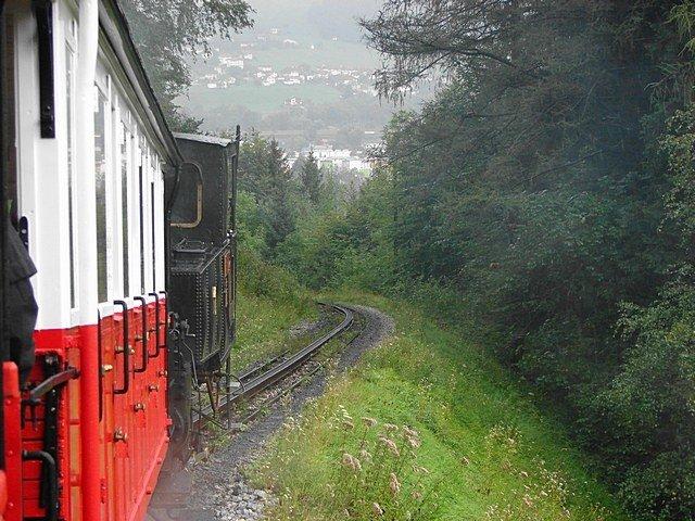 Achenseebahn nbr. 1 descending the hill to Jenbach