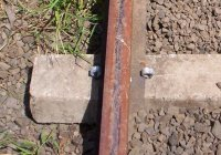 """Older style concrete sleepers with """"elastic Spikes"""""""